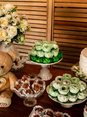 Chá de Bebê - Ursos Verde e Branco - Foto 15