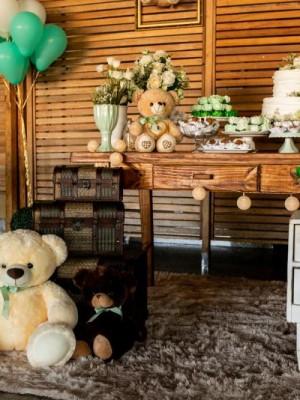 Chá de Bebê - Ursos Verde e Branco - Foto 16