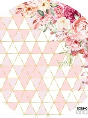 Detalhes do produto Flores Rose e dourado - Painel Redondo